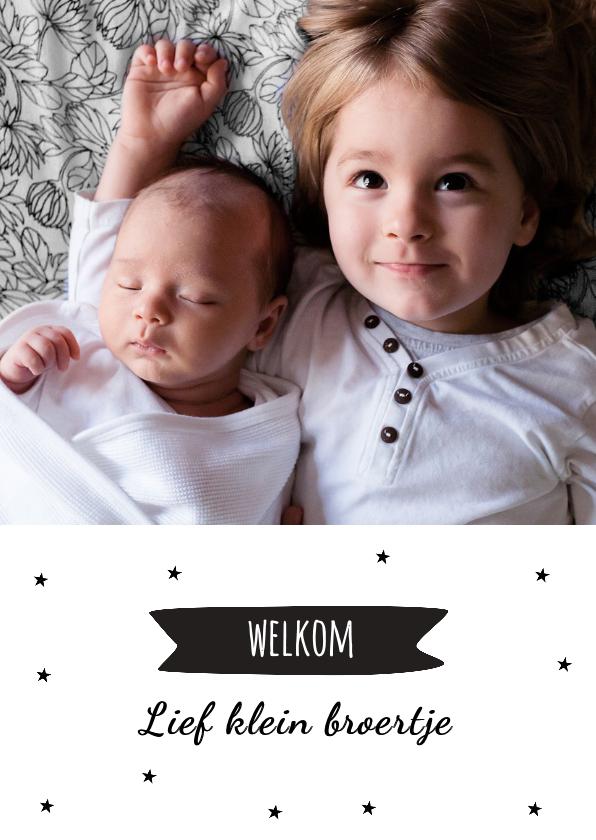 Geboortekaartjes - Geboortekaartje hip en sterretjes voor broertje of zusje