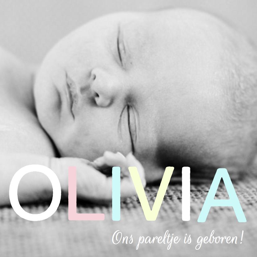 Geboortekaartjes - Geboortekaartje hip foto lief