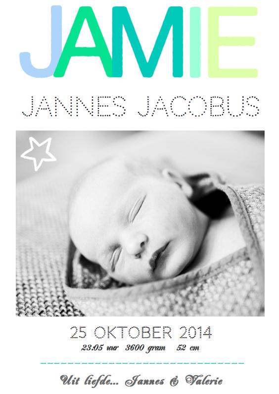 Geboortekaartjes - Geboortekaartje hip fris Jamie