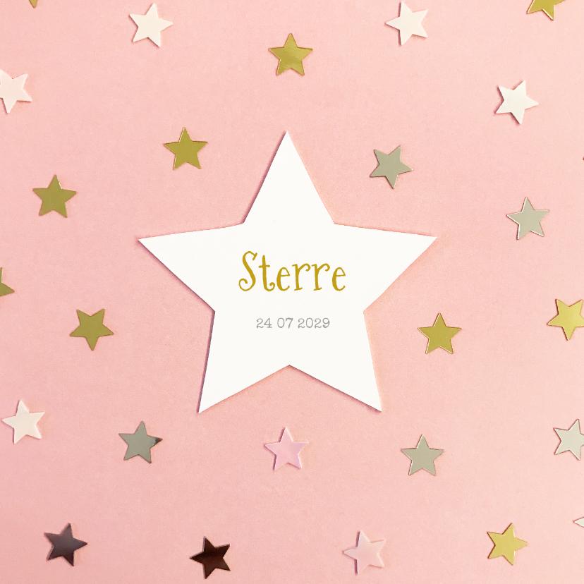 Geboortekaartjes - Geboortekaartje hip goud ster