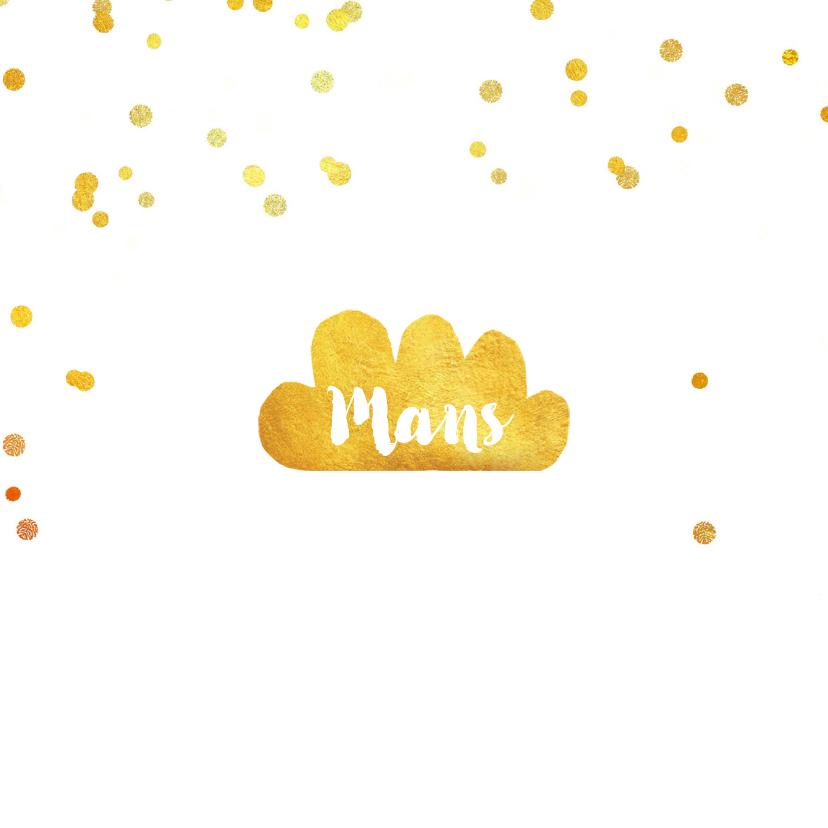 Geboortekaartjes - Geboortekaartje hip goud wolk