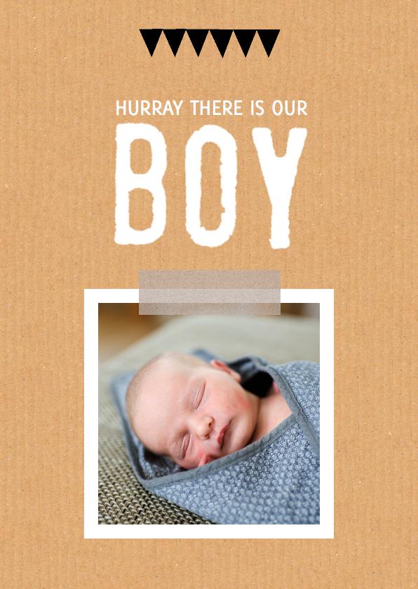 Geboortekaartjes - Geboortekaartje hip karton boy