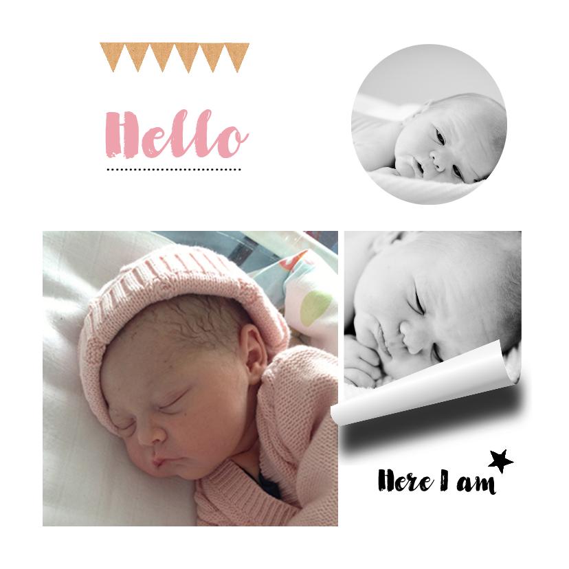 Geboortekaartjes - Geboortekaartje hip karton girl