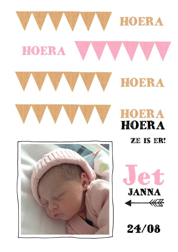 Geboortekaartjes - Geboortekaartje hip karton Jet