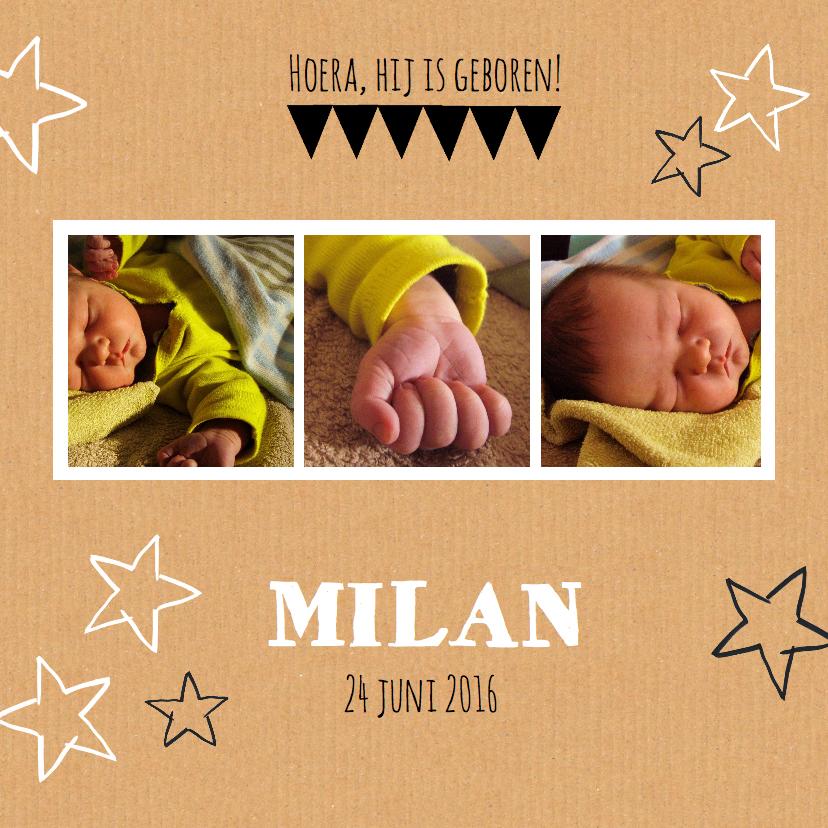 Geboortekaartjes - Geboortekaartje hip karton ster