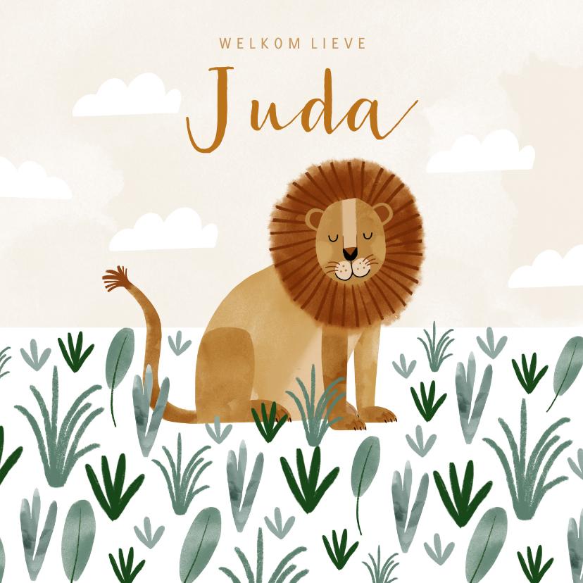 Geboortekaartjes - Geboortekaartje hip leeuw savanne illustratie