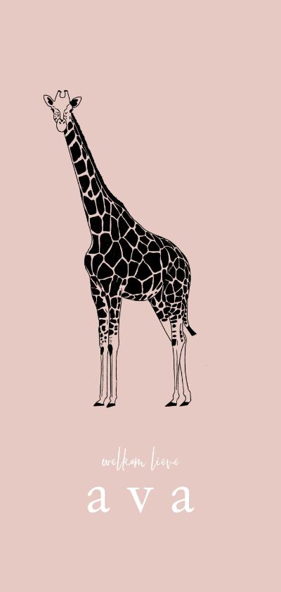 Geboortekaartjes - Geboortekaartje hip lijntekening giraf roze