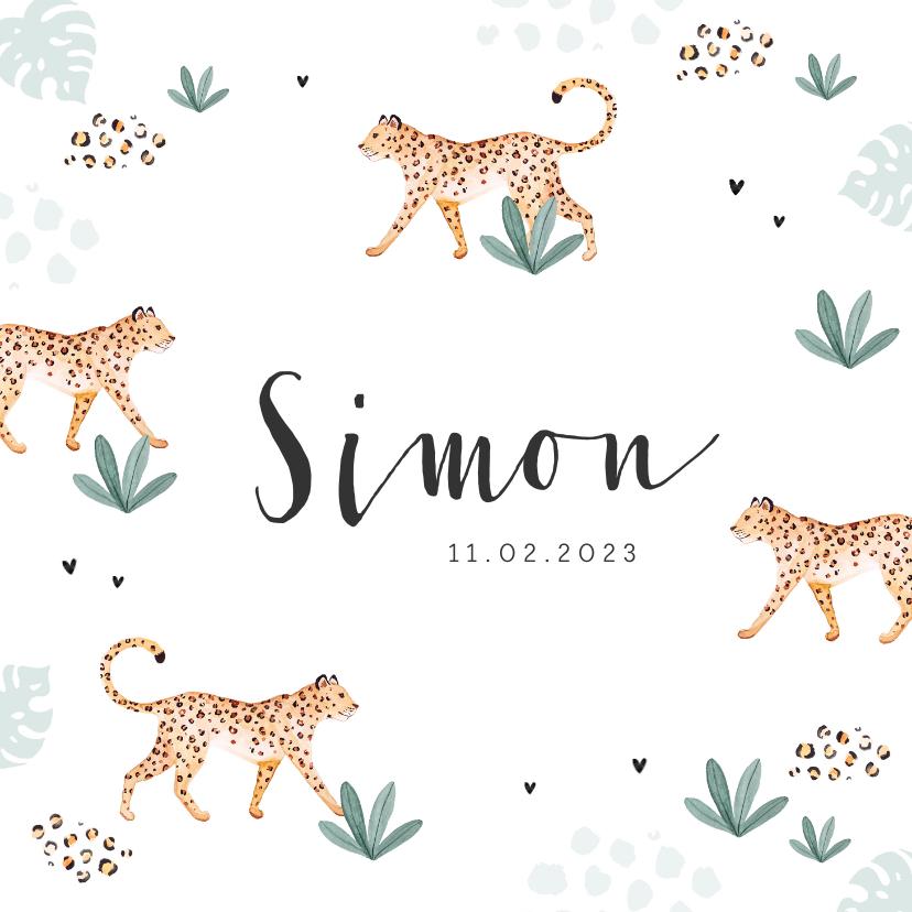 Geboortekaartjes - Geboortekaartje hip luipaard panter jungle waterverf hartjes