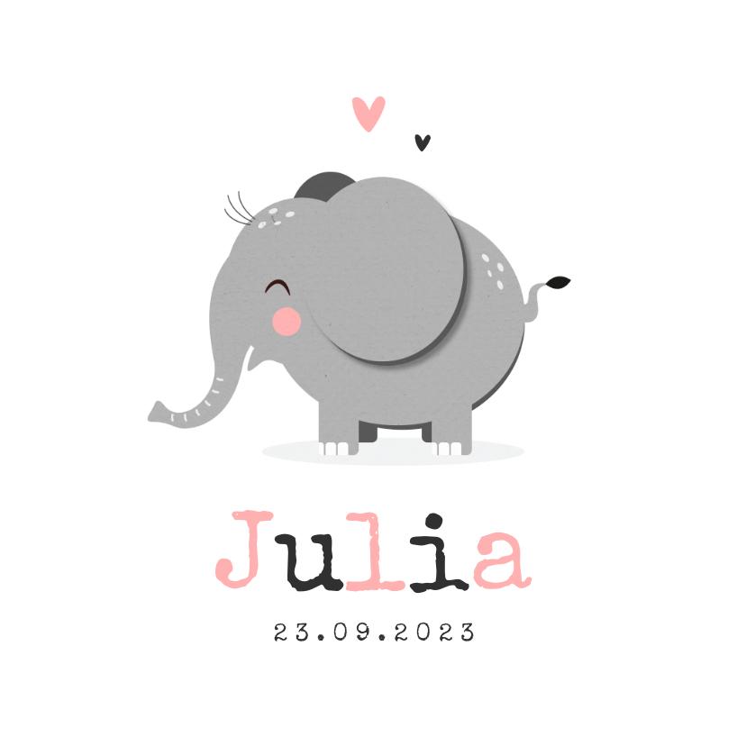 Geboortekaartjes - Geboortekaartje hip meisje hartjes olifant