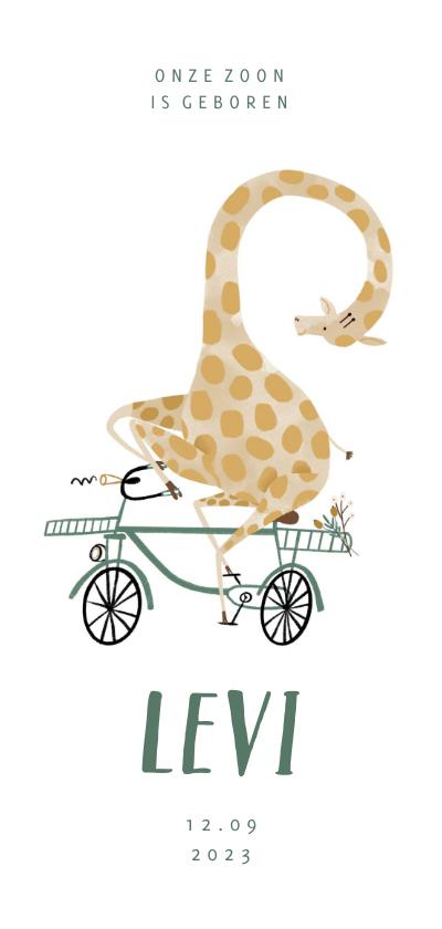 Geboortekaartjes - Geboortekaartje hip met giraf op de fiets illustratie