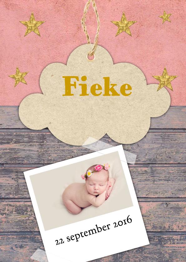 Geboortekaartjes - Geboortekaartje hip met wolkje
