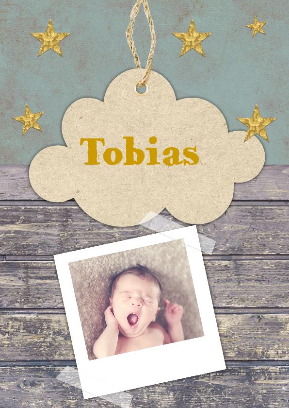 Geboortekaartjes - geboortekaartje hip met wolkjes