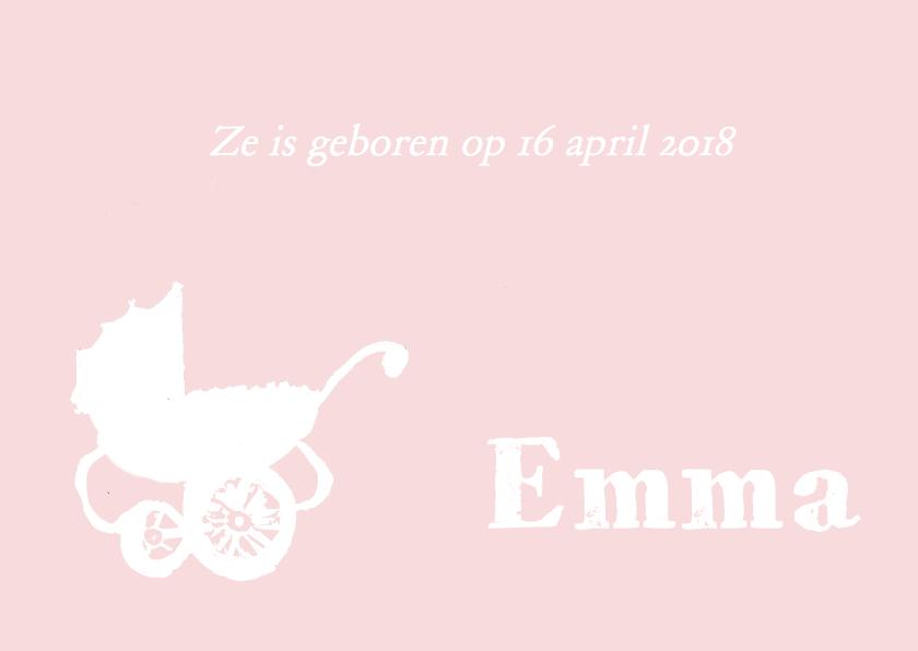 Geboortekaartje hip roze wit 1