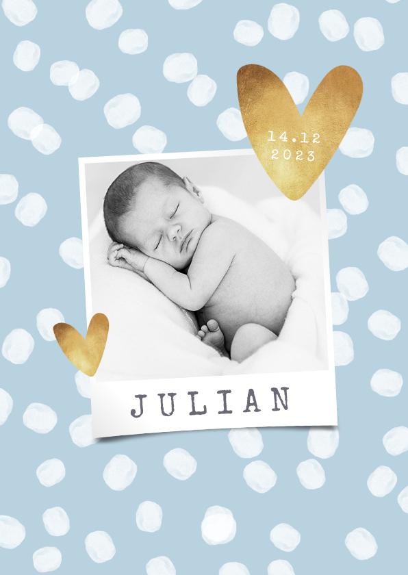 Geboortekaartjes - Geboortekaartje hip stippen hartjes foto goud