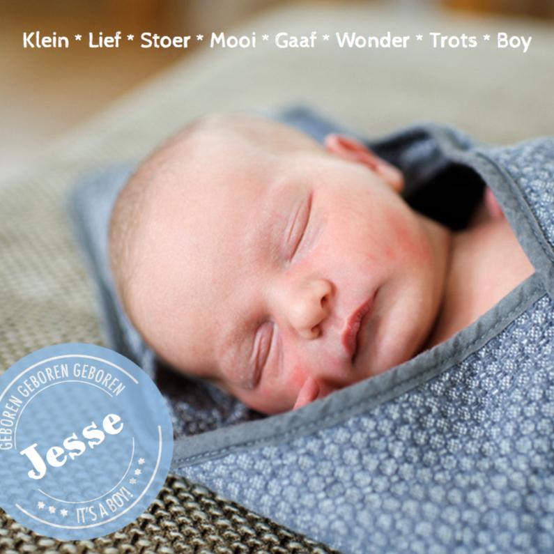 Geboortekaartjes - Geboortekaartje hip stoer Jesse
