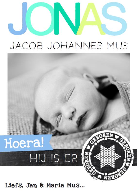 Geboortekaartjes - Geboortekaartje hip stoer Jonas