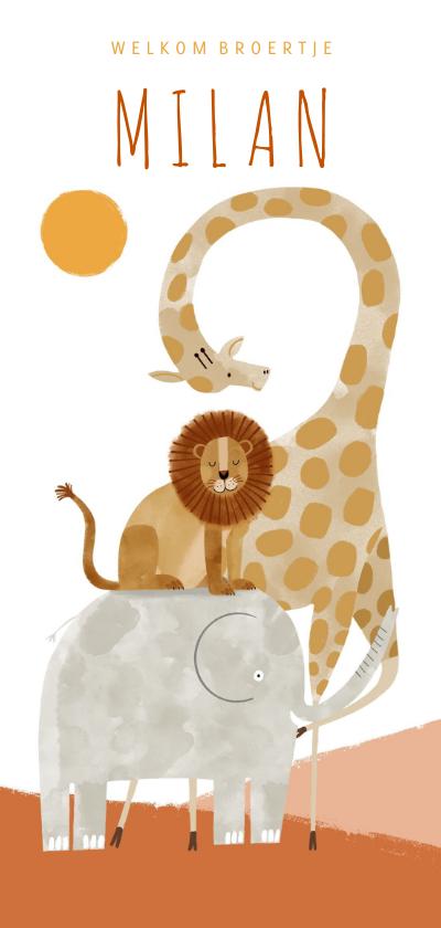 Geboortekaartjes - Geboortekaartje hip welkom broertje met dieren illustratie