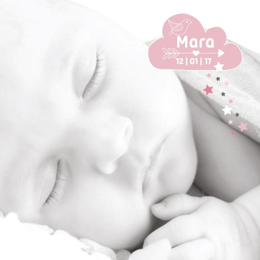 Geboortekaartjes - Geboortekaartje hip wolkje foto