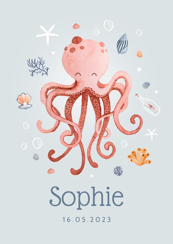 Geboortekaartjes - Geboortekaartje hip zee octopus meisje schelpjes hartjes