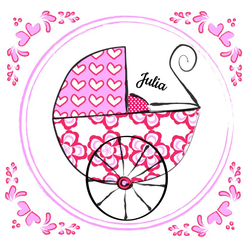 Geboortekaartjes - Geboortekaartje Hollands roze