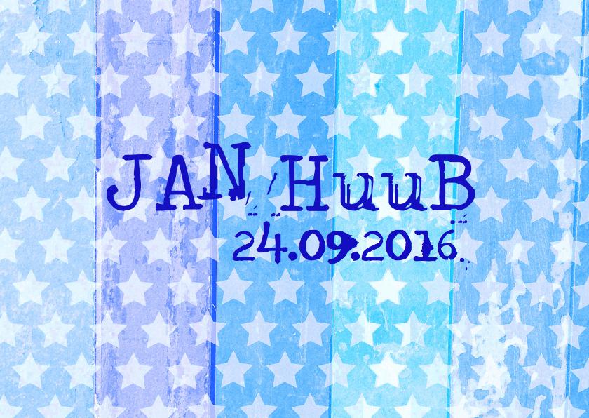 geboortekaartje hout blauw ster 1