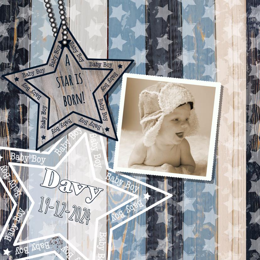 Geboortekaartjes - Geboortekaartje hout foto ster B