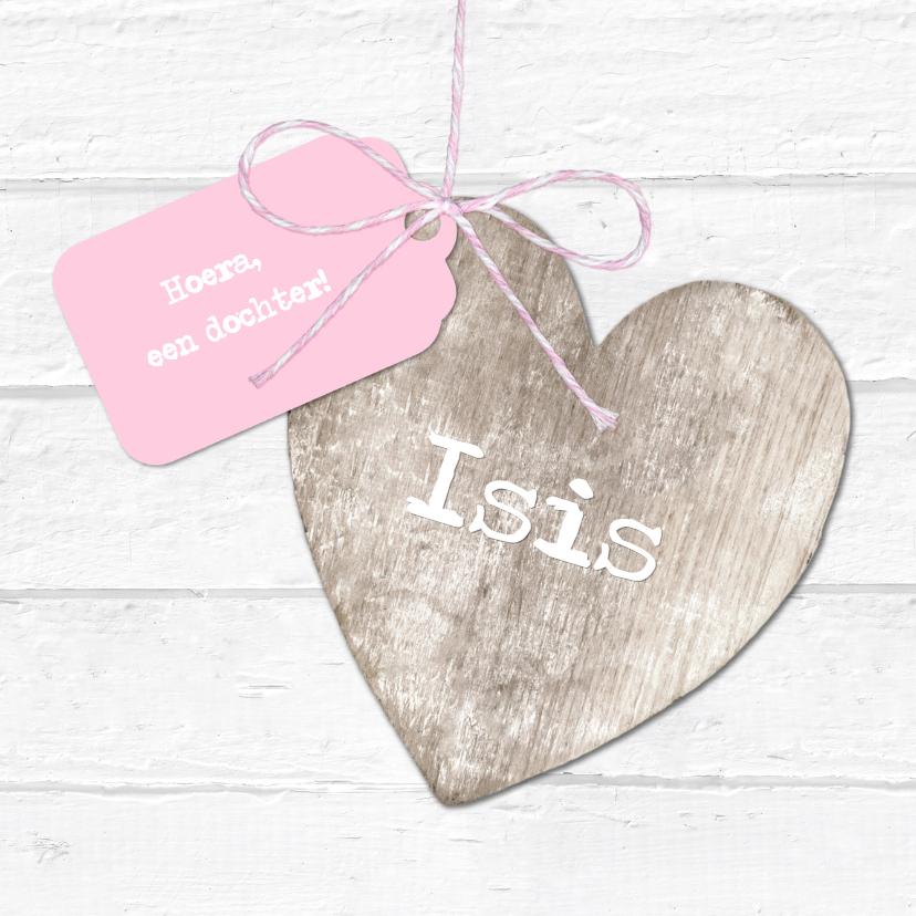 Geboortekaartjes - Geboortekaartje Houten Hart Label Isis