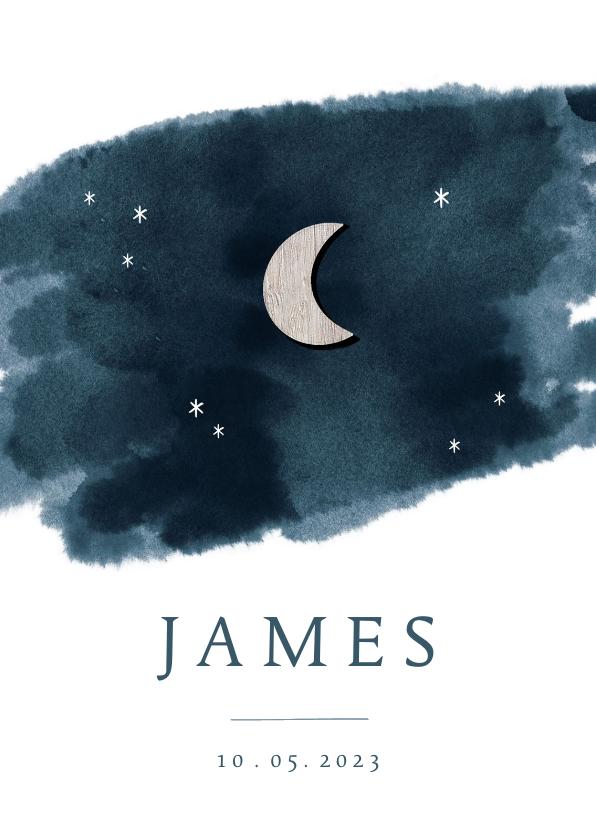 Geboortekaartjes - Geboortekaartje houten maan en sterren waterverf