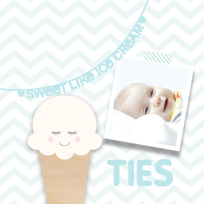 Geboortekaartjes - Geboortekaartje ijsje blauw