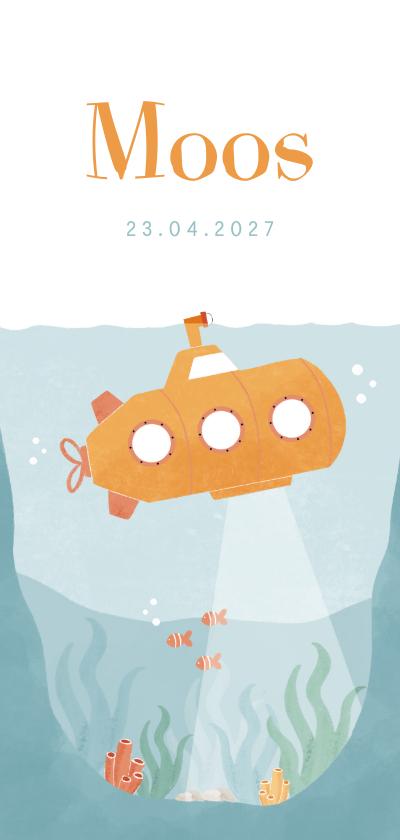 Geboortekaartjes - Geboortekaartje illustratie oceaan met onderzeeër