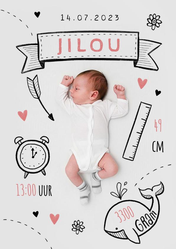 Geboortekaartjes - Geboortekaartje illustraties foto doodle hip