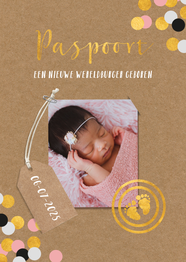 Geboortekaartjes - Geboortekaartje in paspoort vorm voor meisjes