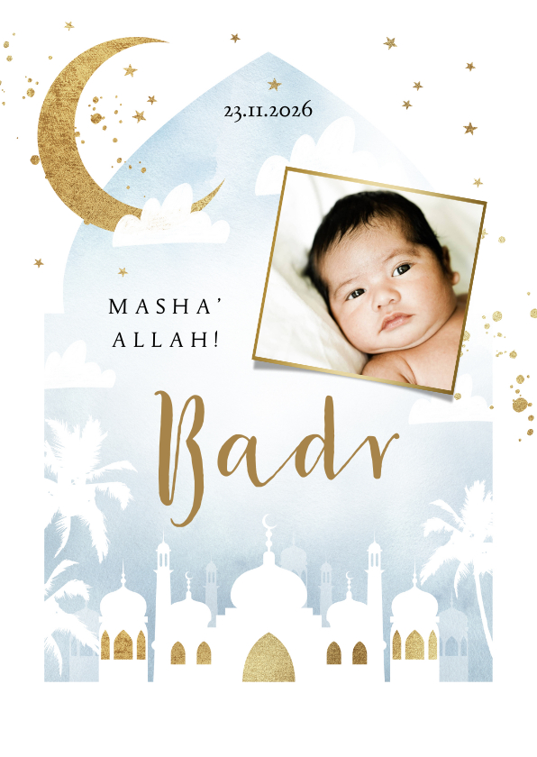 Geboortekaartjes - Geboortekaartje islamitisch blauw waterverf moskee goud