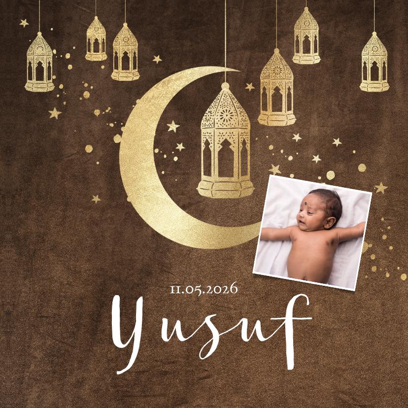 Geboortekaartjes - Geboortekaartje islamitisch goudlook lantaarns, maan velvet