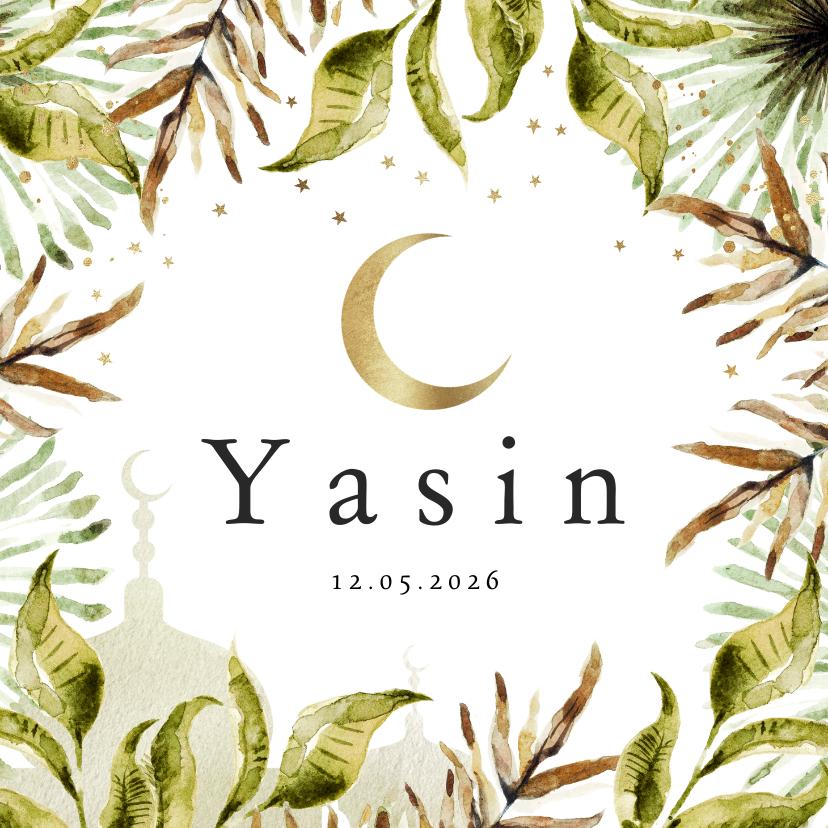 Geboortekaartjes - Geboortekaartje islamitisch jungle bladeren, maan, moskee