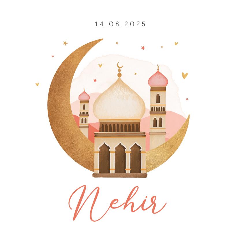 Geboortekaartjes - Geboortekaartje islamitisch maan moskee sterren hartjes