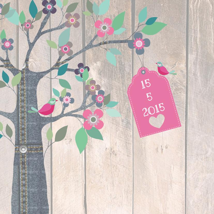 Geboortekaartjes - Geboortekaartje Jeansboom Lotte