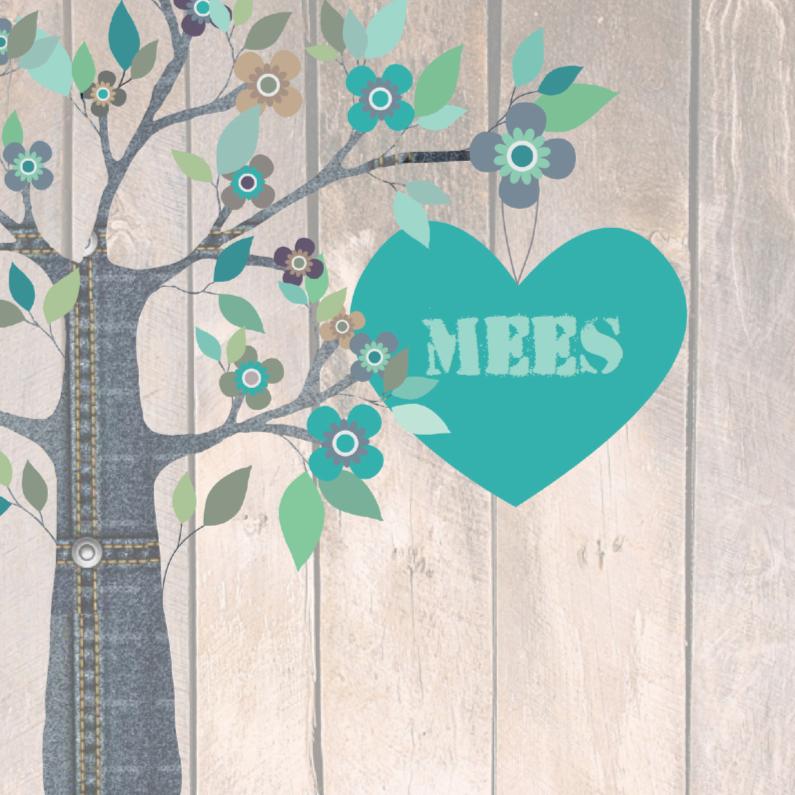 Geboortekaartjes - Geboortekaartje jeanshart Mees