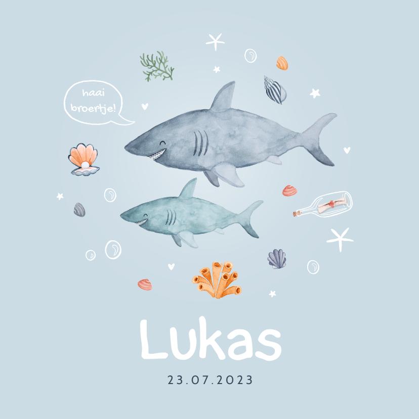 Geboortekaartjes - Geboortekaartje jongen broertje zee onderwater haai