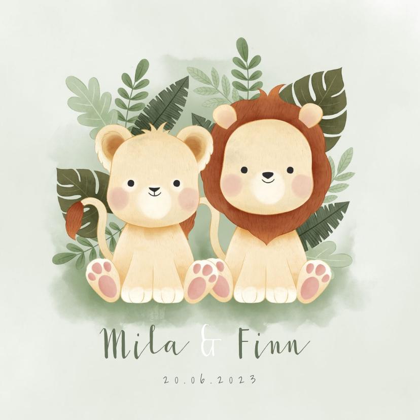 Geboortekaartjes - Geboortekaartje jongen & meisje leeuwtjes jungle