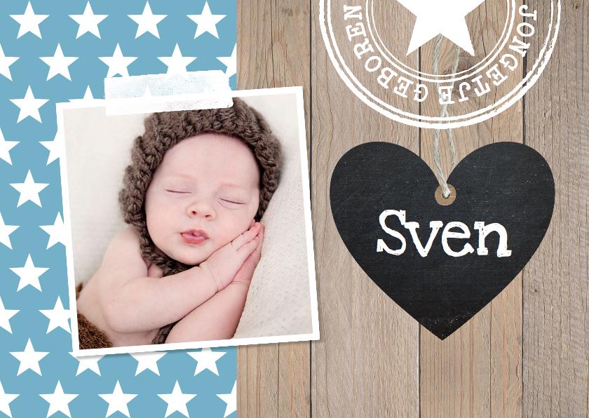 Geboortekaartjes - Geboortekaartje jongen foto hout hartje