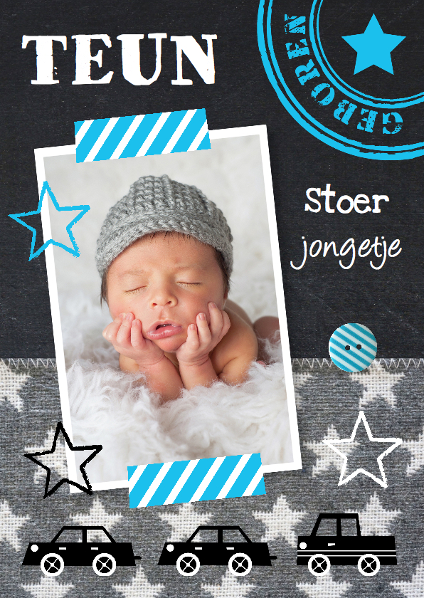 Geboortekaartjes - Geboortekaartje jongen foto krijtbord sterren
