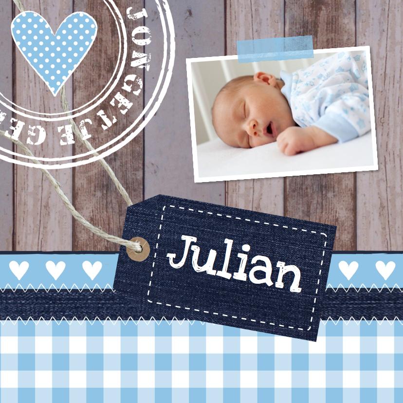 Geboortekaartjes - Geboortekaartje jongen foto label hout