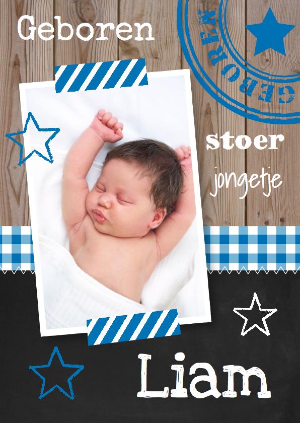 Geboortekaartjes - Geboortekaartje jongen foto sterren hout