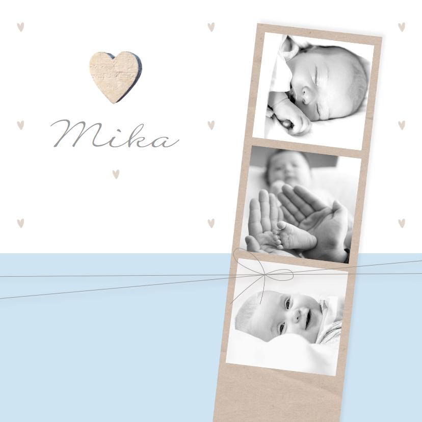 Geboortekaartjes - Geboortekaartje jongen fotostrip