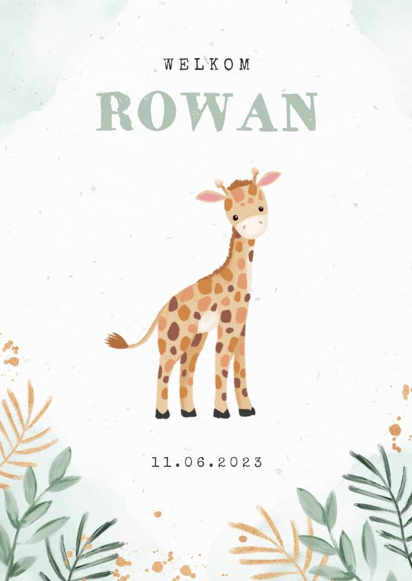 Geboortekaartjes - Geboortekaartje jongen giraf botanisch goud waterverf