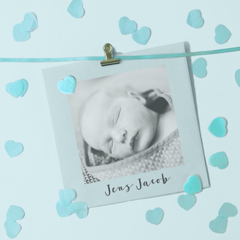 Geboortekaartjes - geboortekaartje jongen hartjes foto