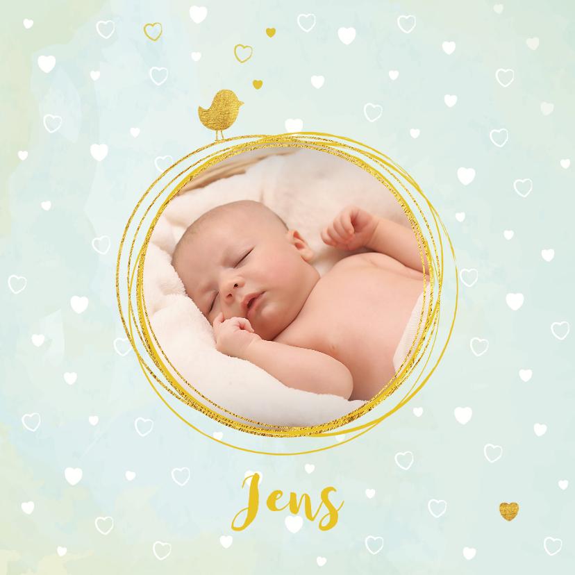 Geboortekaartjes - Geboortekaartje jongen lief hip kaartje met hartjes en vogel