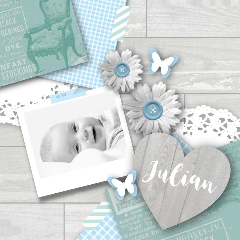 Geboortekaartjes - Geboortekaartje jongen lief pastel