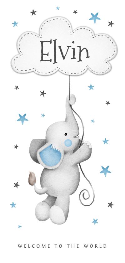 Geboortekaartjes - geboortekaartje jongen lief sterretjes wolkje olifantje